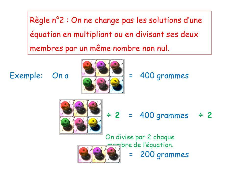 Règle n°2 : On ne change pas les solutions d'une