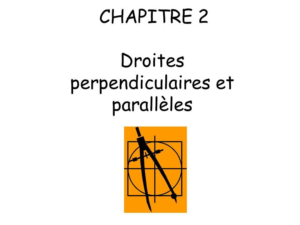 CHAPITRE 2 Droites perpendiculaires et parallèles