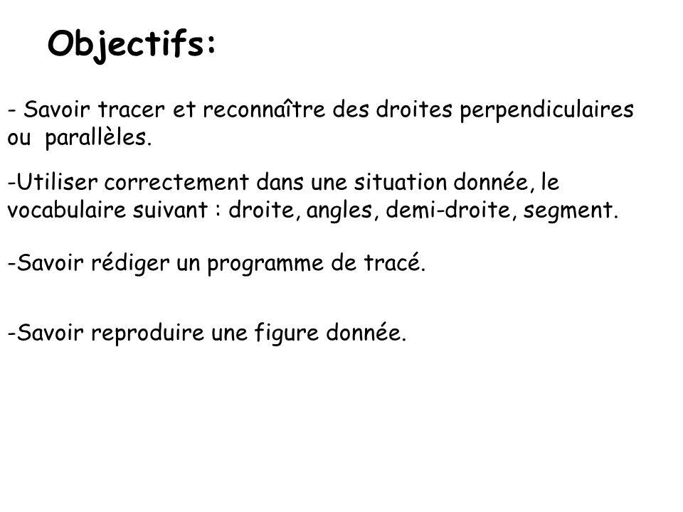 Objectifs: Savoir tracer et reconnaître des droites perpendiculaires