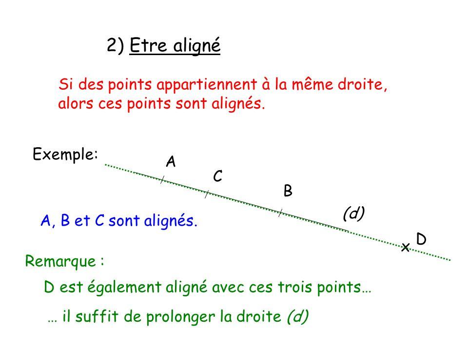 2) Etre aligné Si des points appartiennent à la même droite,