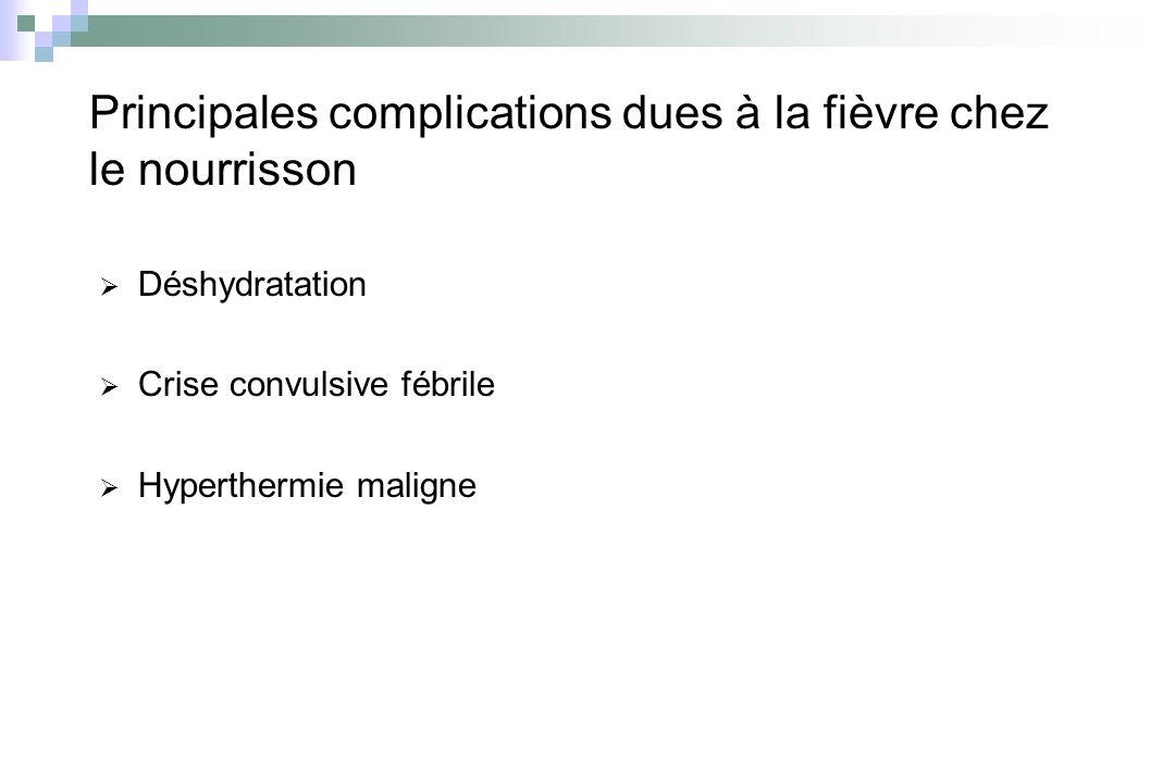 Principales complications dues à la fièvre chez le nourrisson