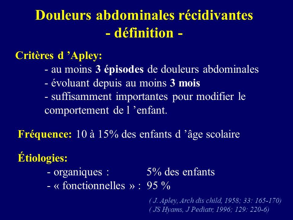 Douleurs abdominales récidivantes - définition -