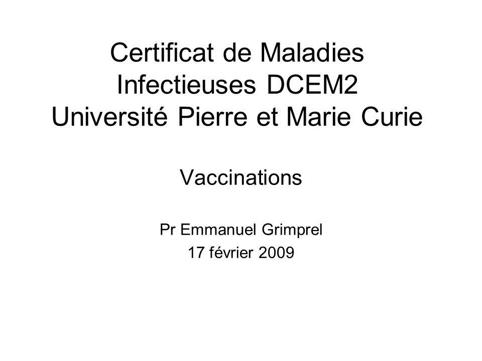 Certificat de Maladies Infectieuses DCEM2 Université Pierre et Marie Curie