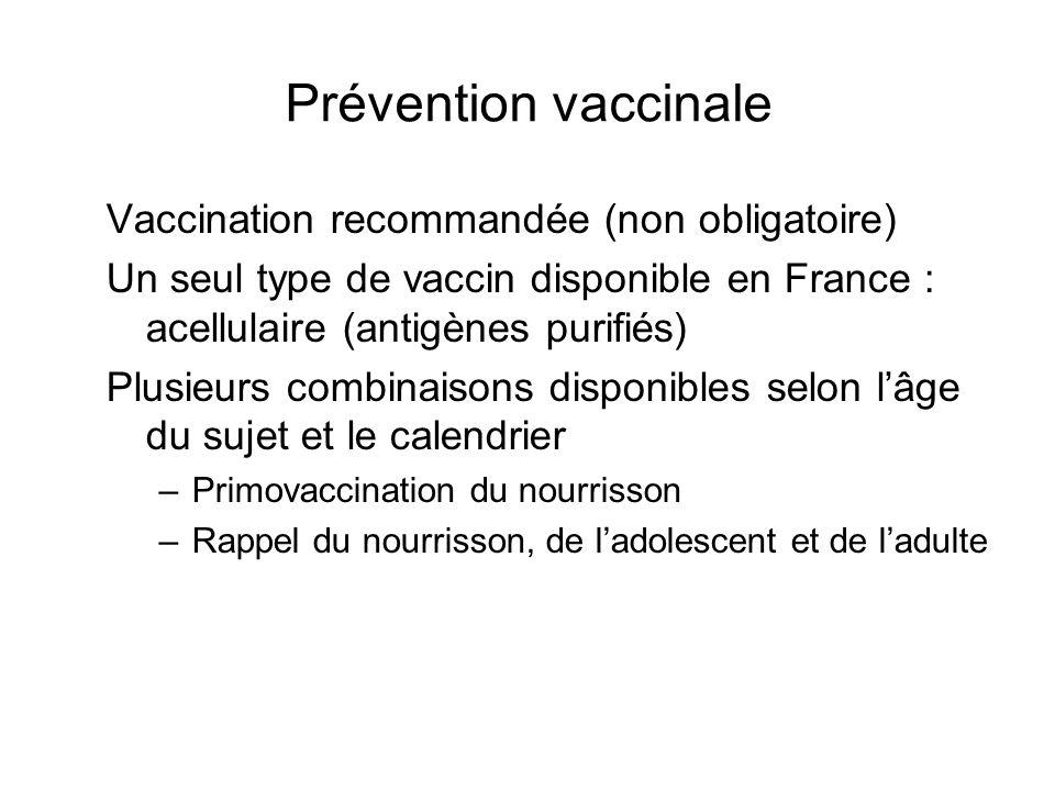 Prévention vaccinale Vaccination recommandée (non obligatoire)