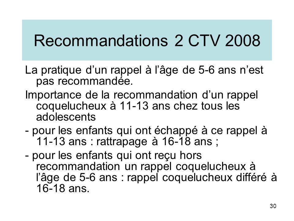 Recommandations 2 CTV 2008 La pratique d'un rappel à l'âge de 5-6 ans n'est pas recommandée.