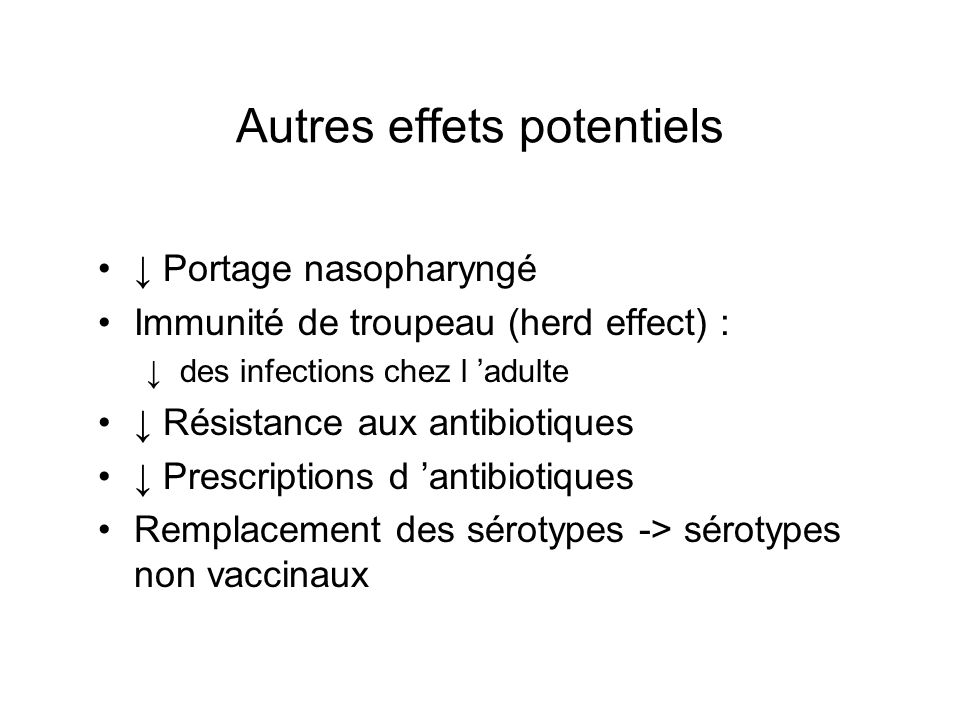 Autres effets potentiels