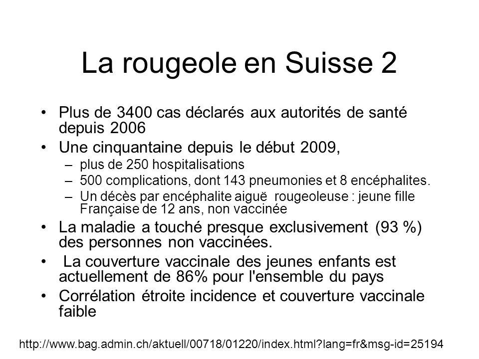 La rougeole en Suisse 2 Plus de 3400 cas déclarés aux autorités de santé depuis 2006. Une cinquantaine depuis le début 2009,