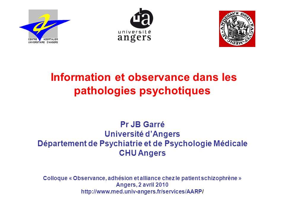 Information et observance dans les pathologies psychotiques