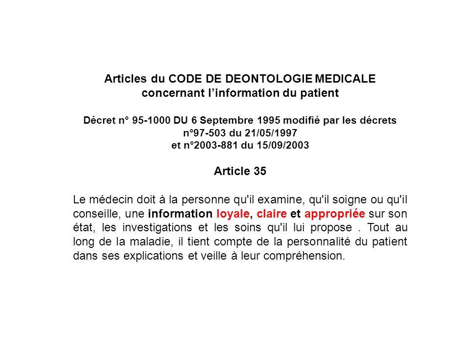 Articles du CODE DE DEONTOLOGIE MEDICALE