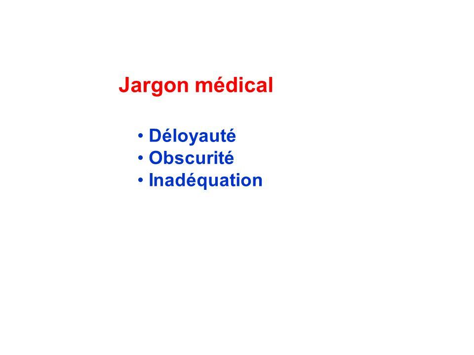 Jargon médical Déloyauté Obscurité Inadéquation