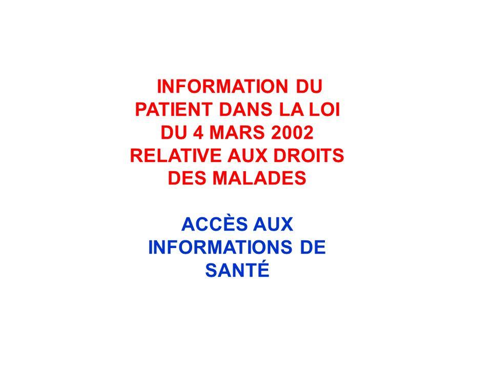 ACCÈS AUX INFORMATIONS DE SANTÉ