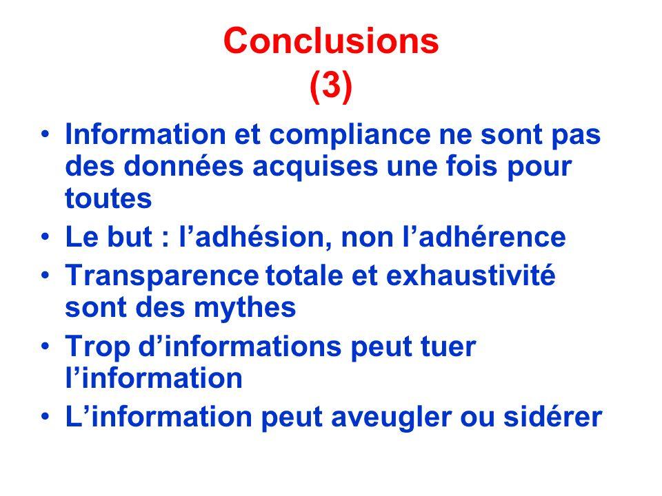 Conclusions (3) Information et compliance ne sont pas des données acquises une fois pour toutes. Le but : l'adhésion, non l'adhérence.