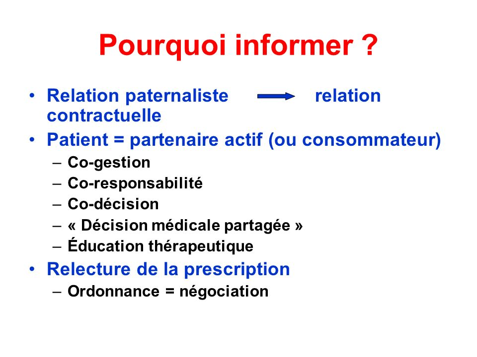 Pourquoi informer Relation paternaliste relation contractuelle