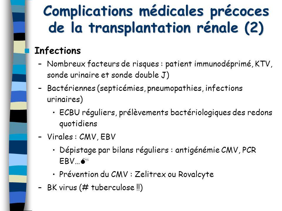 Complications médicales précoces de la transplantation rénale (2)