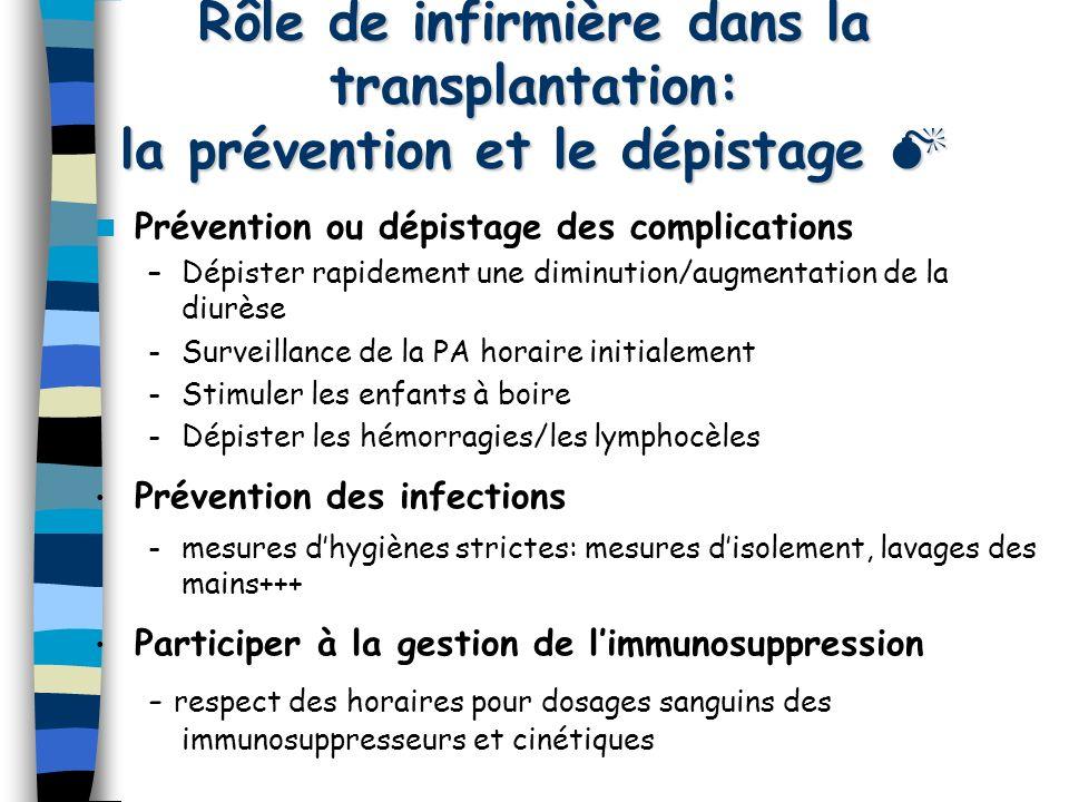 Rôle de infirmière dans la transplantation: la prévention et le dépistage 