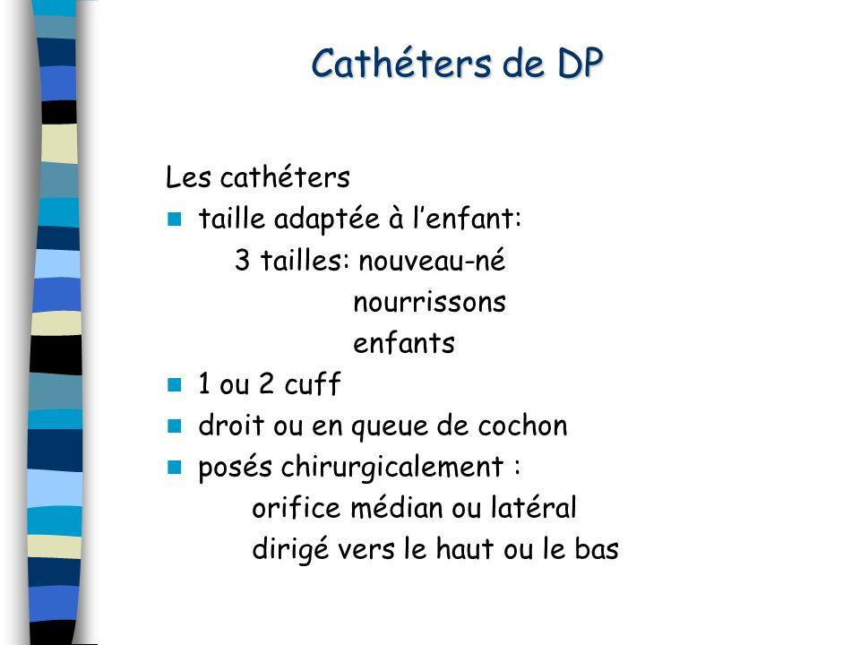 Cathéters de DP Les cathéters taille adaptée à l'enfant: