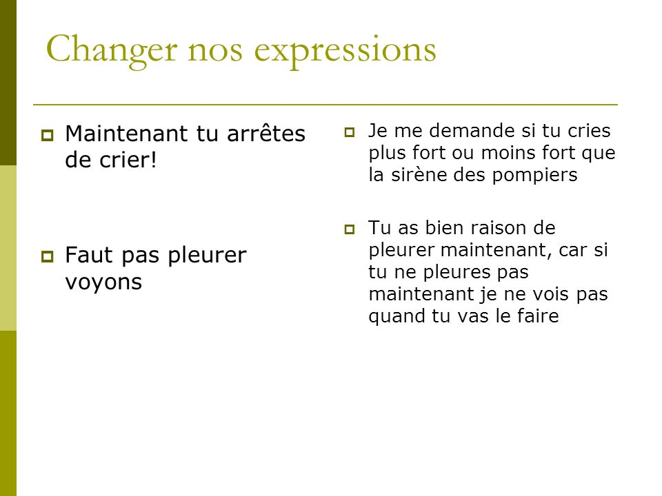 Changer nos expressions