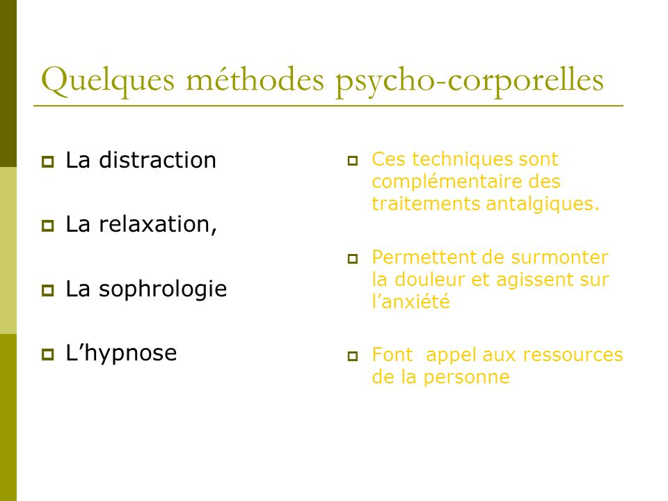 Quelques méthodes psycho-corporelles
