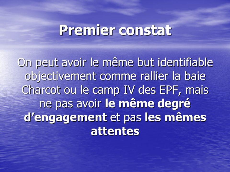 Premier constat On peut avoir le même but identifiable objectivement comme rallier la baie Charcot ou le camp IV des EPF, mais ne pas avoir le même degré d'engagement et pas les mêmes attentes