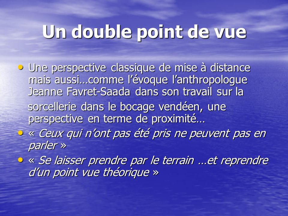 Un double point de vue