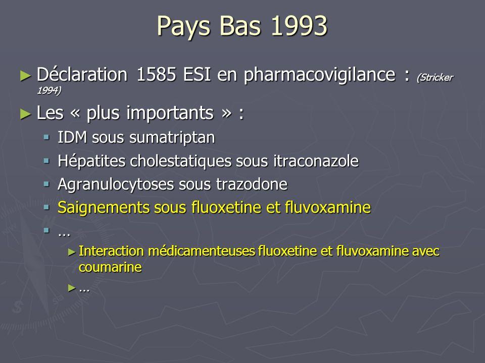 Pays Bas 1993Déclaration 1585 ESI en pharmacovigilance : (Stricker 1994) Les « plus importants » : IDM sous sumatriptan.