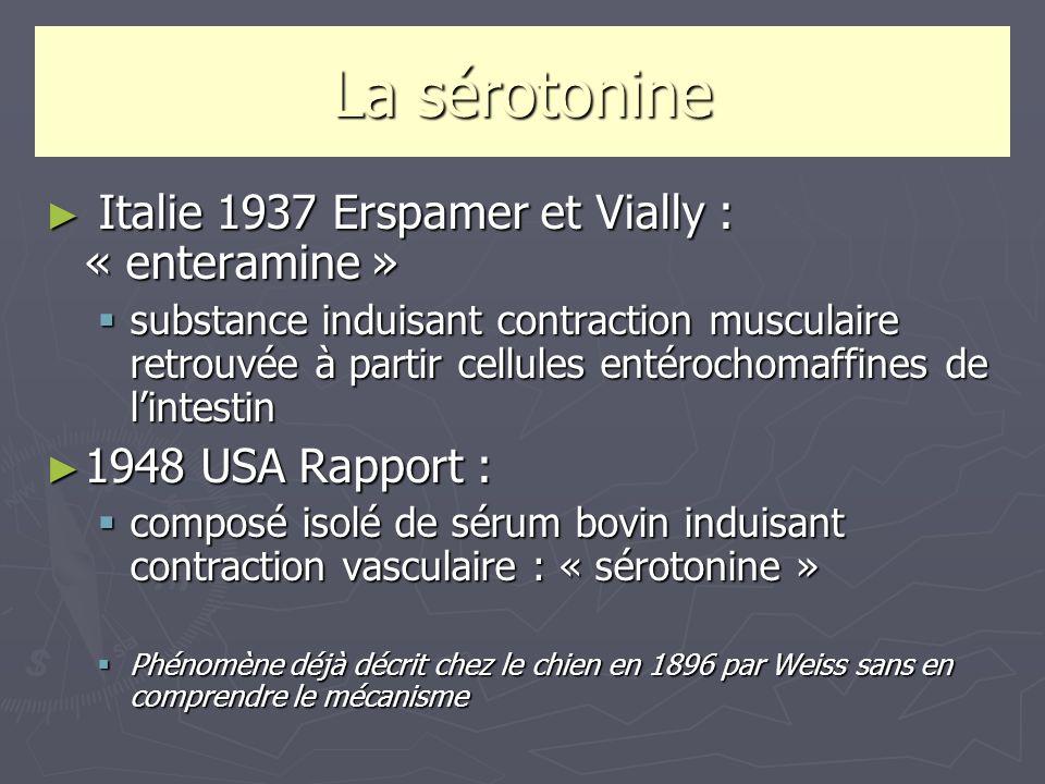 La sérotonine Italie 1937 Erspamer et Vially : « enteramine »