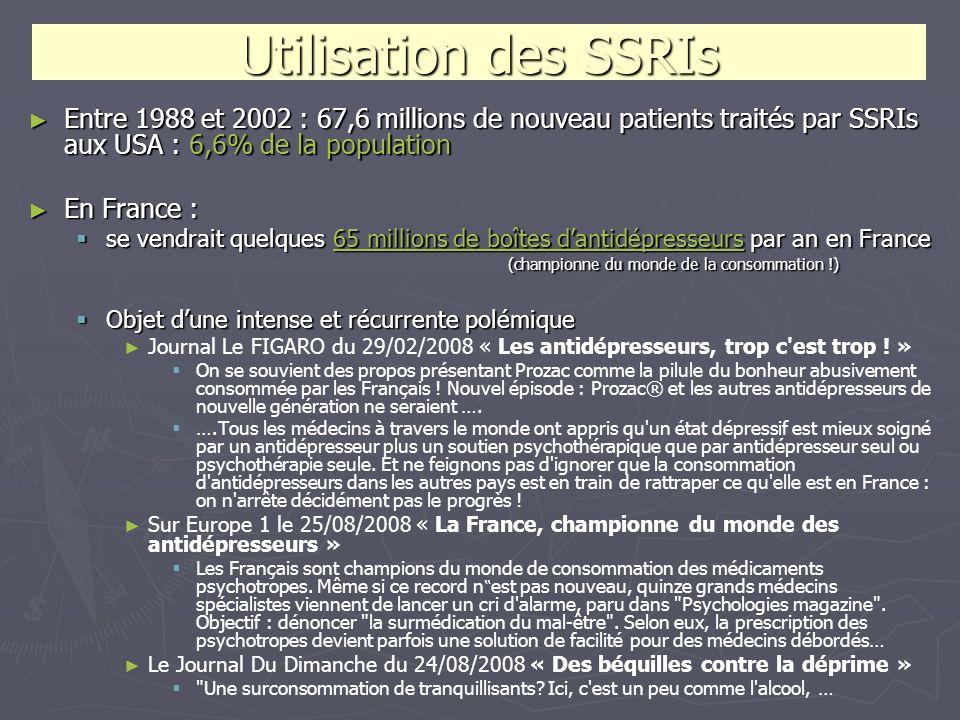 Utilisation des SSRIsEntre 1988 et 2002 : 67,6 millions de nouveau patients traités par SSRIs aux USA : 6,6% de la population.