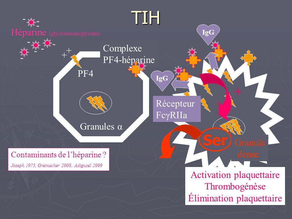 TIH Ser + - - - Héparine (glycosaminoglycane) - - - Complexe