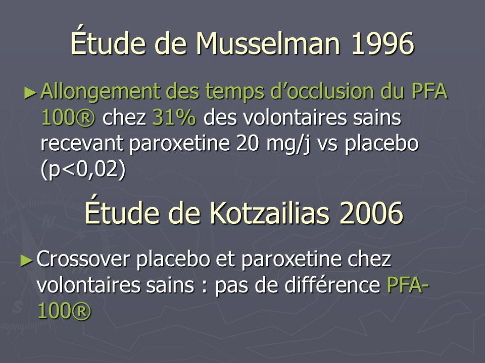 Étude de Musselman 1996 Étude de Kotzailias 2006