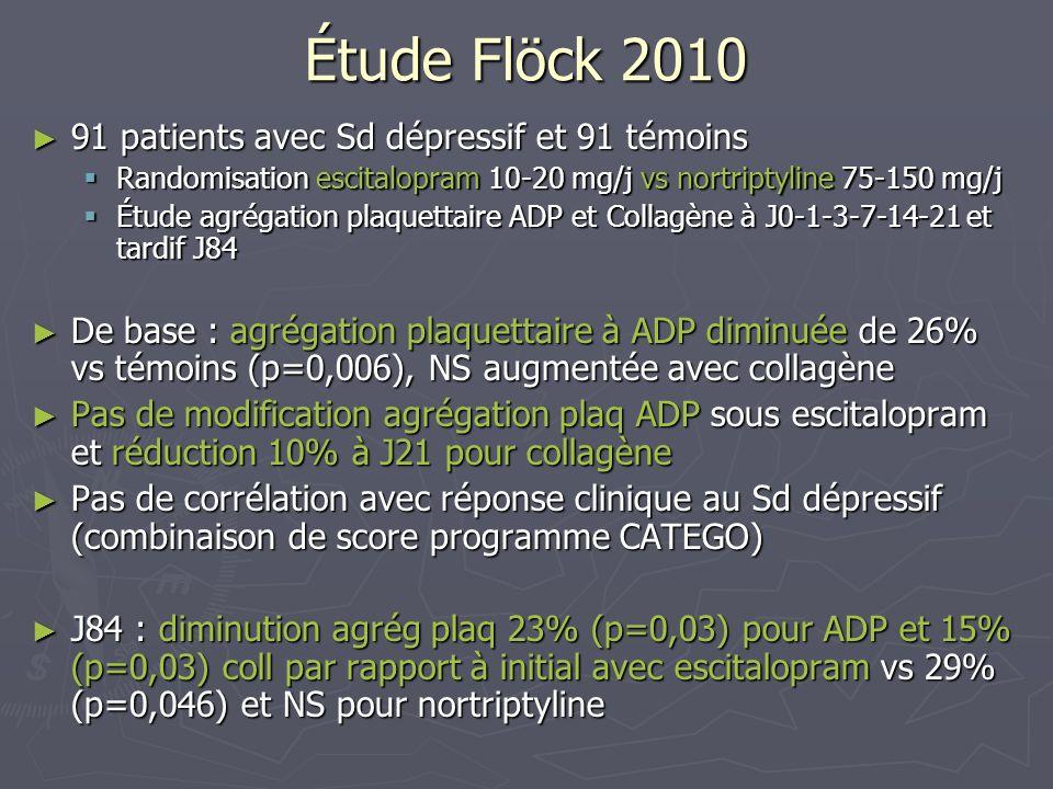 Étude Flöck 2010 91 patients avec Sd dépressif et 91 témoins