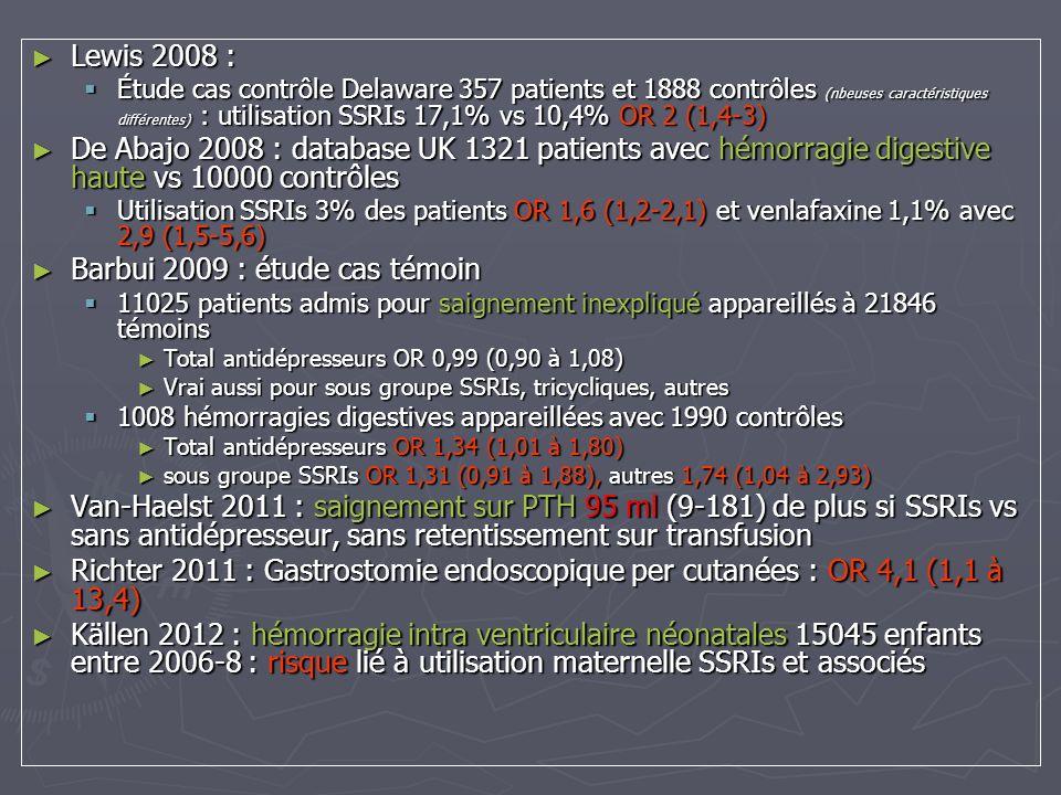 Barbui 2009 : étude cas témoin