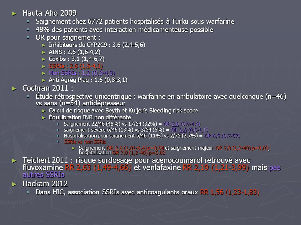 Hauta-Aho 2009Saignement chez 6772 patients hospitalisés à Turku sous warfarine. 48% des patients avec interaction médicamenteuse possible.