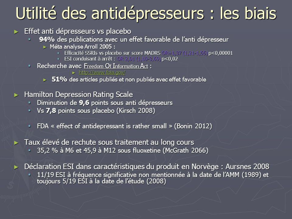 Utilité des antidépresseurs : les biais