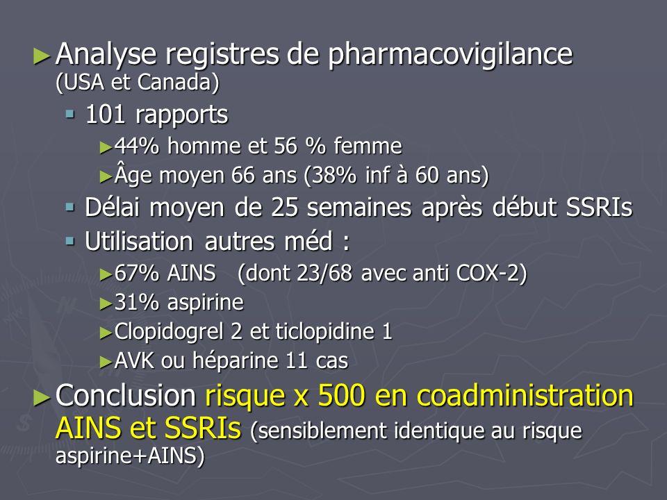 Analyse registres de pharmacovigilance (USA et Canada)