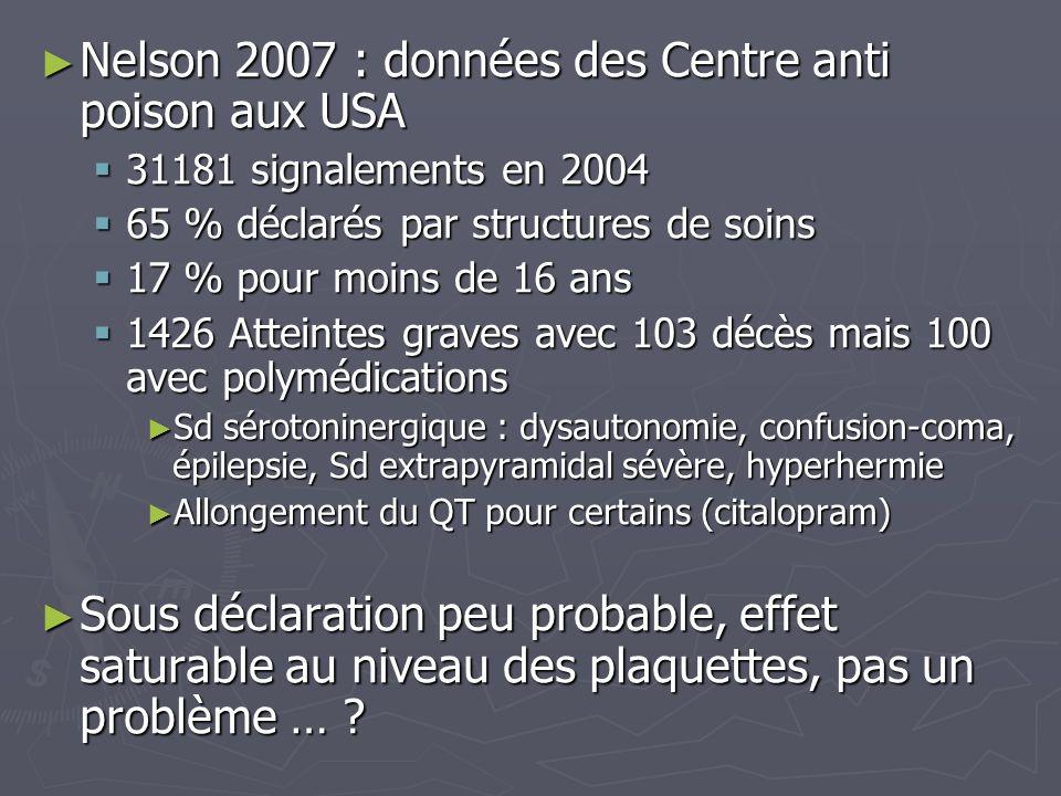 Nelson 2007 : données des Centre anti poison aux USA