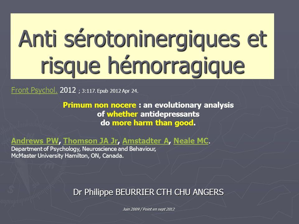 Anti sérotoninergiques et risque hémorragique