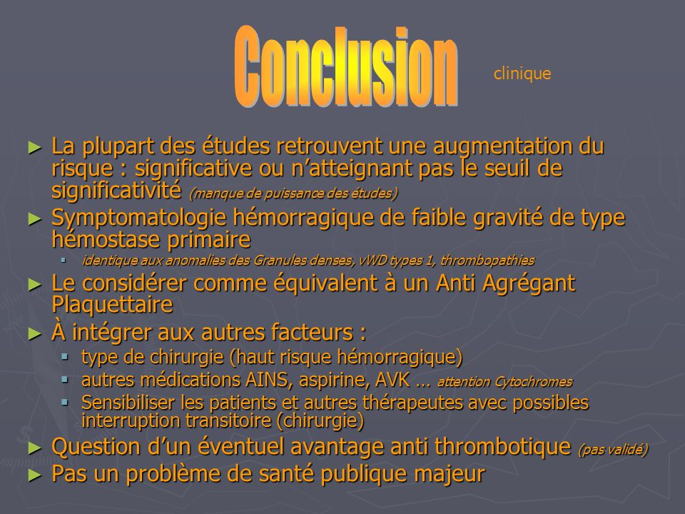 Conclusion clinique.