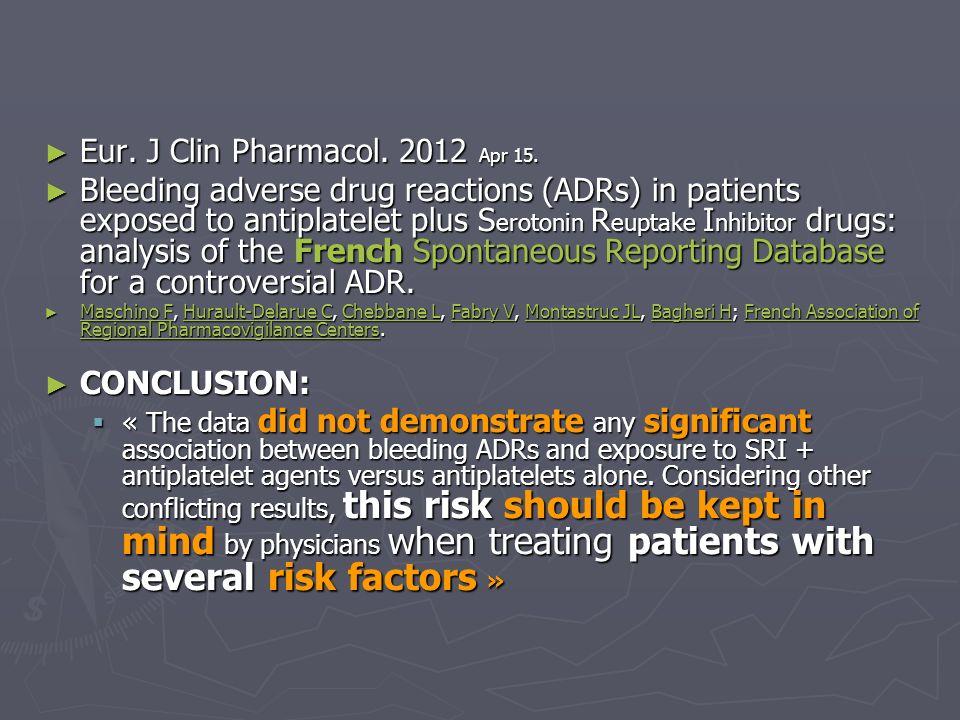 Eur. J Clin Pharmacol. 2012 Apr 15.