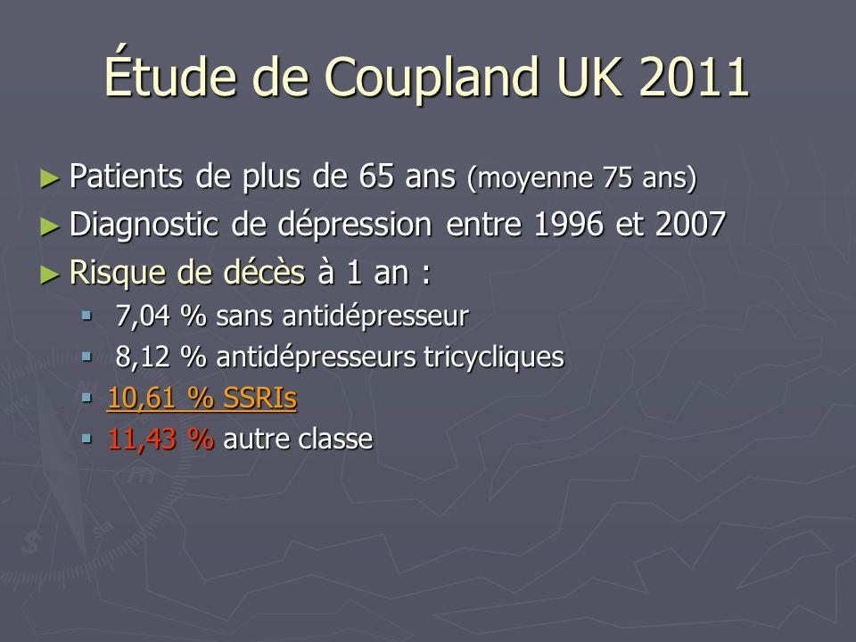 Étude de Coupland UK 2011 Patients de plus de 65 ans (moyenne 75 ans)