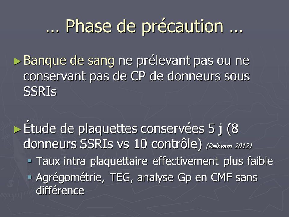 … Phase de précaution … Banque de sang ne prélevant pas ou ne conservant pas de CP de donneurs sous SSRIs.