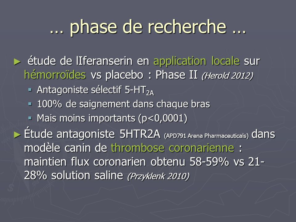 … phase de recherche …étude de lIferanserin en application locale sur hémorroïdes vs placebo : Phase II (Herold 2012)