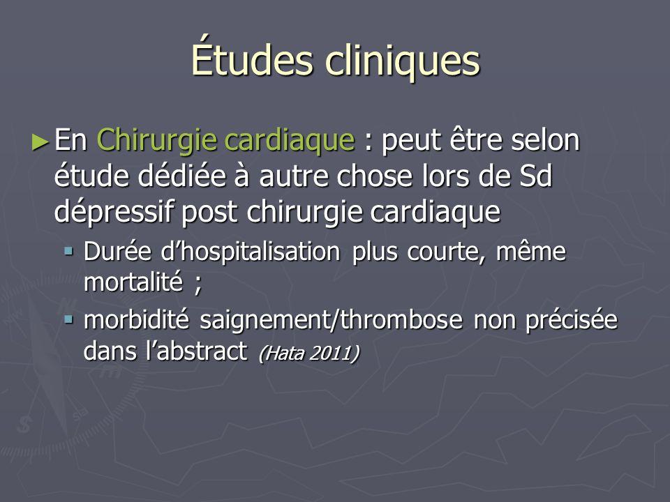 Études cliniquesEn Chirurgie cardiaque : peut être selon étude dédiée à autre chose lors de Sd dépressif post chirurgie cardiaque.