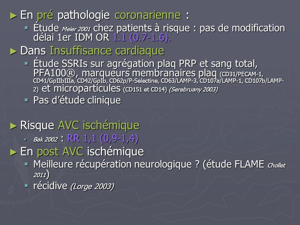 En pré pathologie coronarienne : Dans Insuffisance cardiaque