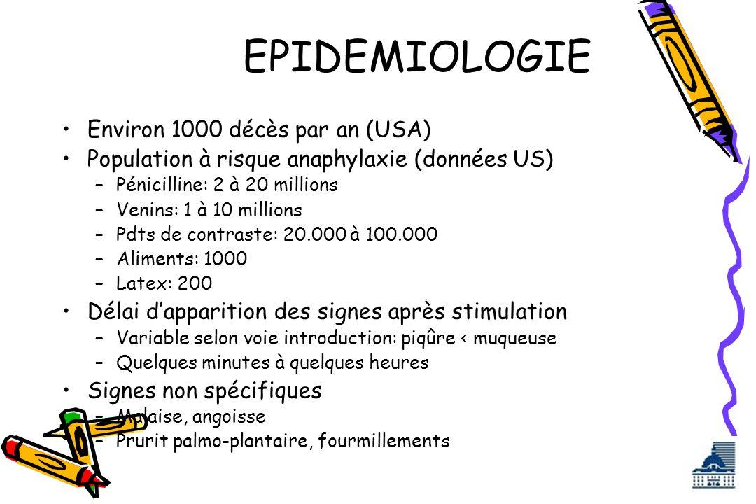 EPIDEMIOLOGIE Environ 1000 décès par an (USA)