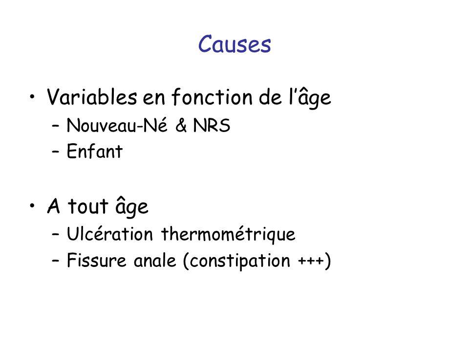 Causes Variables en fonction de l'âge A tout âge Nouveau-Né & NRS