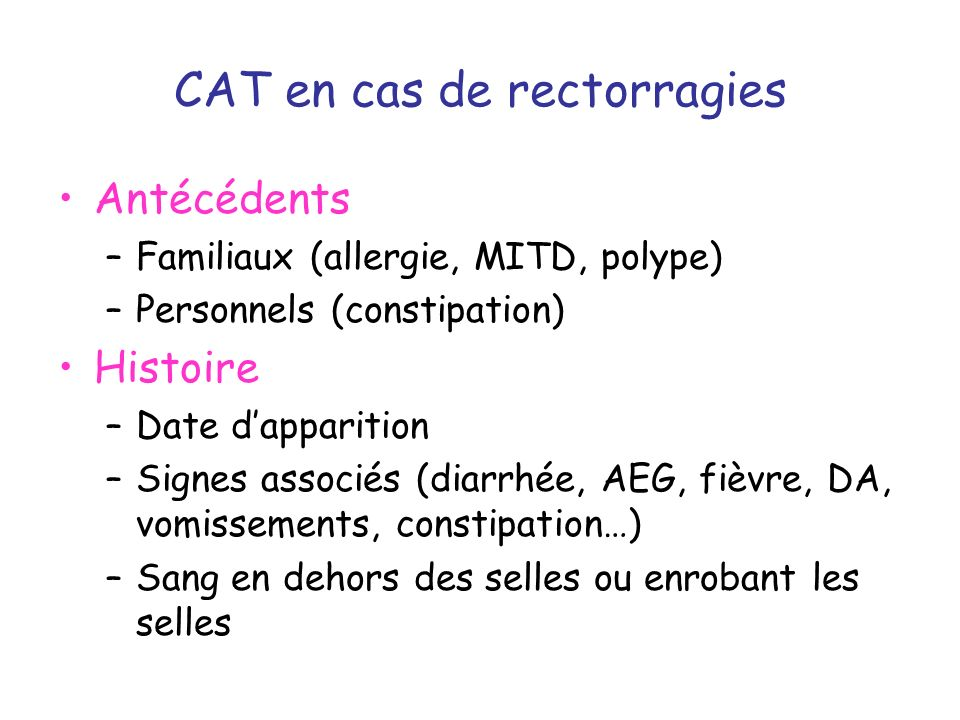 CAT en cas de rectorragies