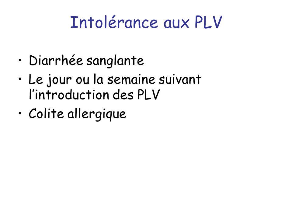 Intolérance aux PLV Diarrhée sanglante