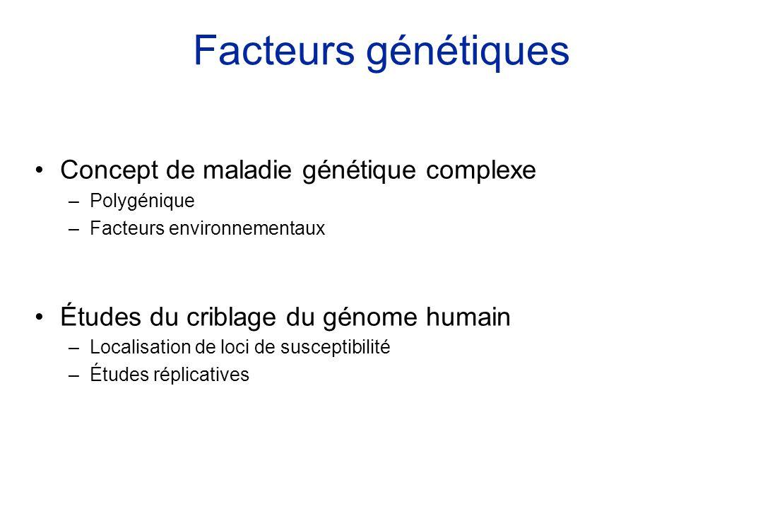 Facteurs génétiques Concept de maladie génétique complexe