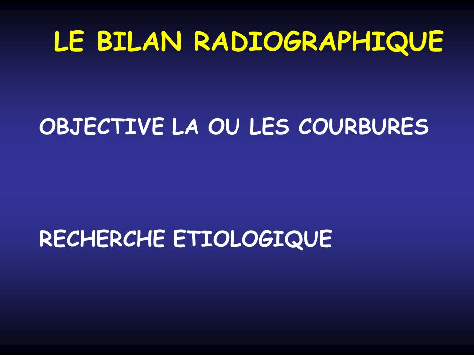 LE BILAN RADIOGRAPHIQUE