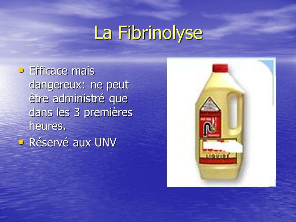 La Fibrinolyse Efficace mais dangereux: ne peut être administré que dans les 3 premières heures.